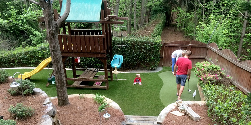 Atlanta, GA Family Backyard With DuPont™ ForeverLawn® Select HD and GolfGreens