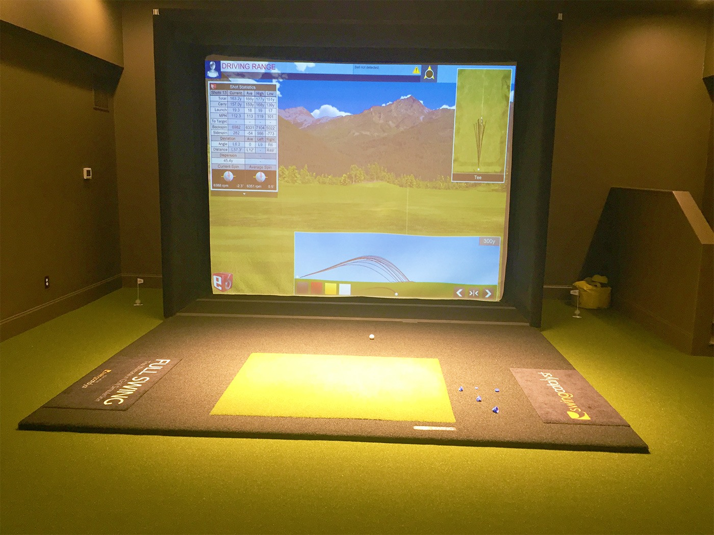 Golf simulator room at the Golf Club at Little Turtle with GolfGreens artificial turf