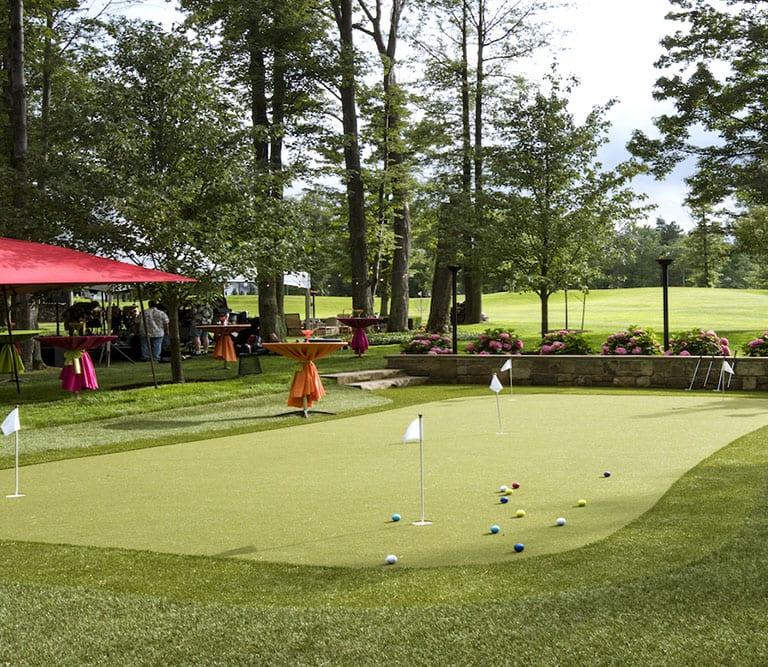 PGA golf professional Jimmy Hanlin's residential backyard putting green in Concord, Ohio featuring GolfGreens by ForeverLawn