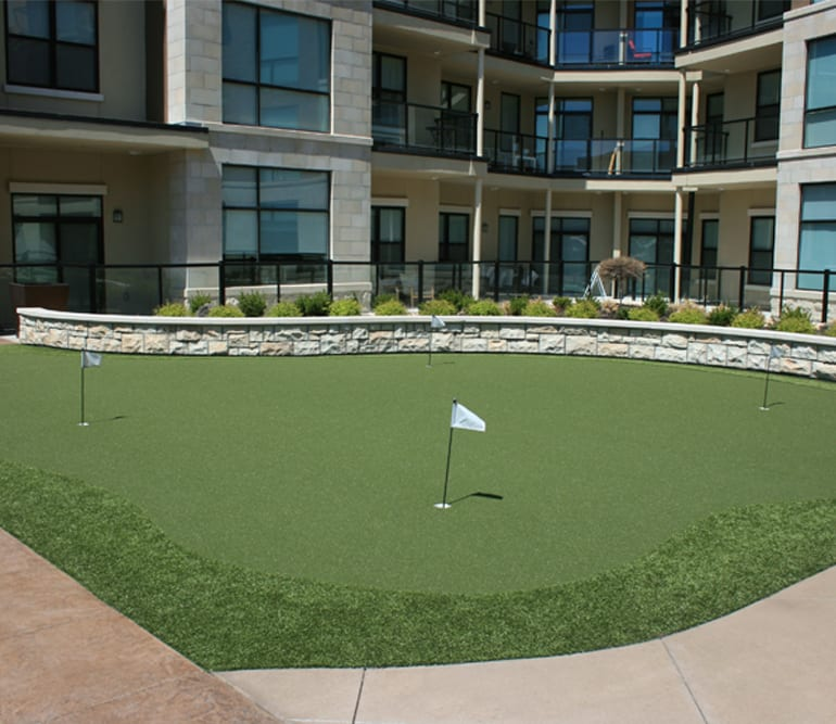 Putting green created with GolfGreens True Putt 10/11 at City Place at Westport in Overland Park, Kansas
